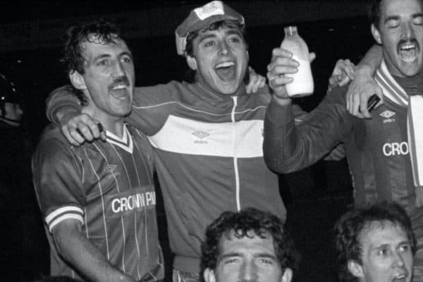 Liverpool's Michael Robinson (back row, second left) as Liverpool celebrate with the Milk Cup after winning the replay 1-0. PA Photo. Issue date: Tuesday April 28, 2020. Former Liverpool and Republic of Ireland striker Michael Robinson has died at the age of 61. See PA story SOCCER Robinson. Photo credit should read PA Photos/PA Wire.