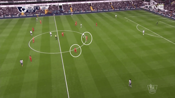 Milner and Lallana's positions when Spurs were in possession of the ball.