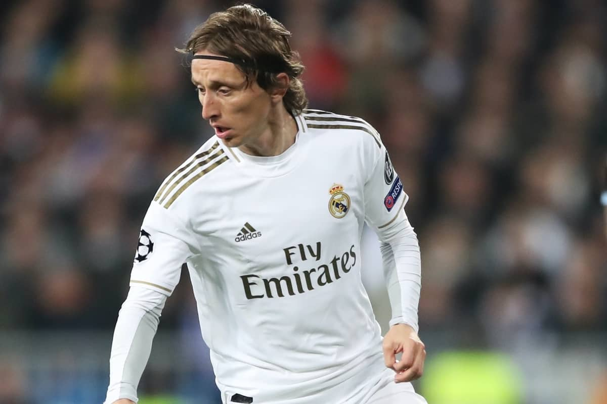 Real Madrid's Luka Modric during the UEFA Champions League round of 16 first leg match at the Santiago Bernabeu, Madrid.