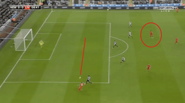 Moreno delivers a great first-time cross on the break vs. Newcastle, but Benteke fails to spearhead the move.