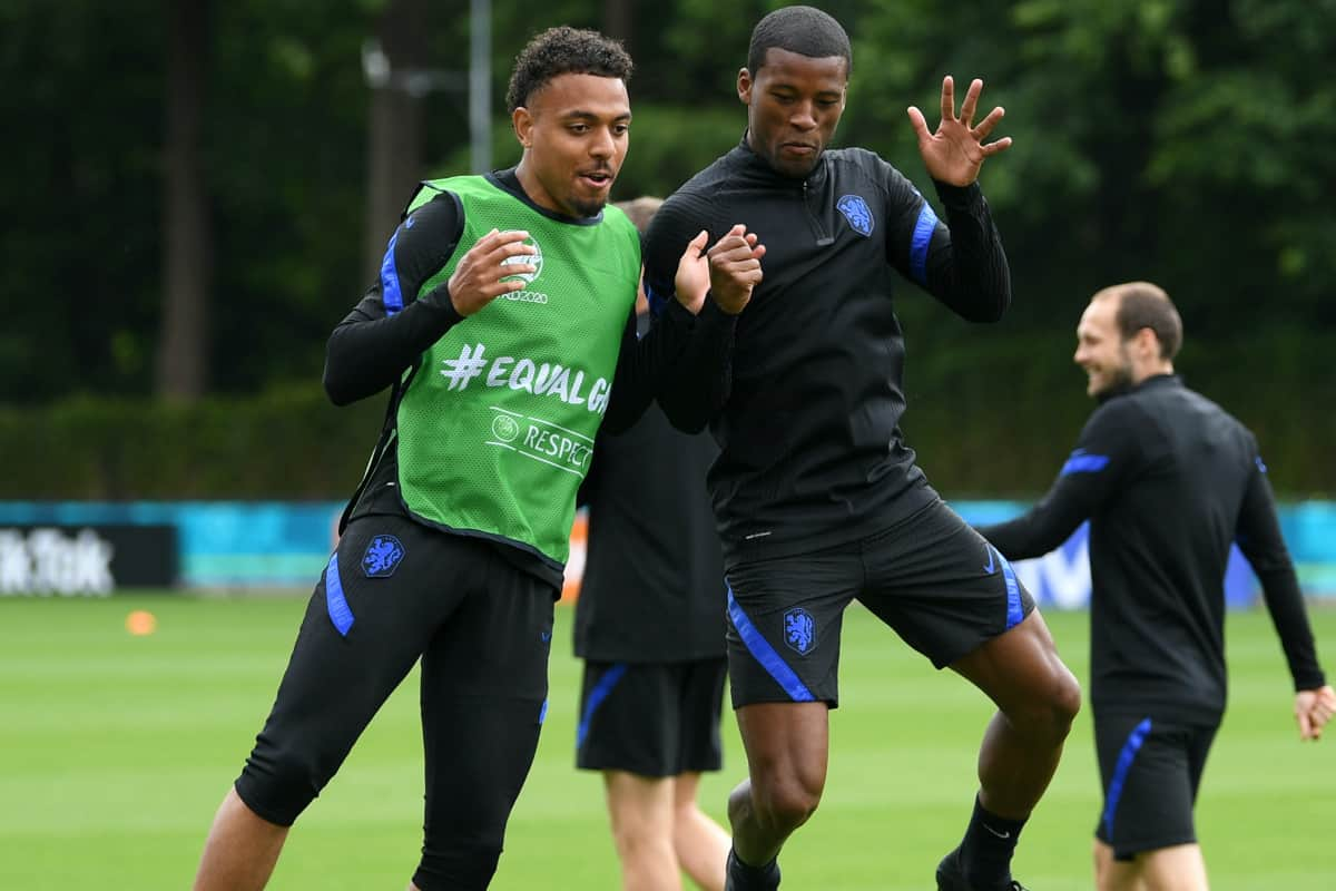 AMSTERDAM, NETHERLANDS - JUNE 12: Donyell Malen and Georginio Wijnaldum (R) of Netherlands train during the Netherlands Training Session ahead of the Euro 2020 Group C match between Netherlands and Ukraine at the KNVB Campus on June 12, 2021 in Amsterdam, Netherlands. (Photo by Lukas Schulze - UEFA)