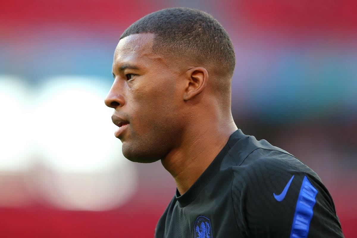 BUDAPEST, HUNGARY - JUNE 26: Georginio Wijnaldum of Netherlands looks on during the Netherlands Training Session ahead of the UEFA Euro 2020 Round of 16 match between Netherlands and Czech Republic at Puskas Arena on June 26, 2021 in Budapest, Hungary. (UEFA)