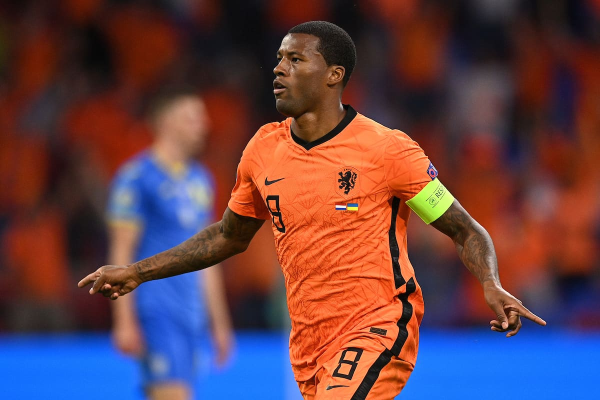 AMSTERDAM, NETHERLANDS - JUNE 13: Georginio Wijnaldum of Netherlands celebrates after scoring their side's first goal during the UEFA Euro 2020 Championship Group C match between Netherlands and Ukraine at the Johan Cruijff ArenA on June 13, 2021 in Amsterdam, Netherlands. (Photo by Lukas Schulze - UEFA/UEFA via Getty Images)