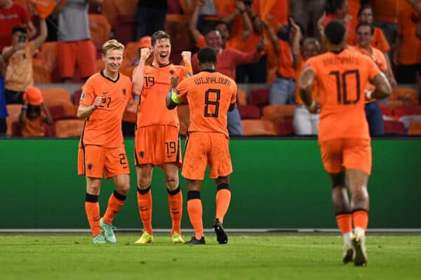 AMSTERDAM, NETHERLANDS - JUNE 13: Wout Weghorst of Netherlands celebrates with Frenkie de Jong and Georginio Wijnaldum after scoring their side's second goal during the UEFA Euro 2020 Championship Group C match between Netherlands and Ukraine at the Johan Cruijff ArenA on June 13, 2021 in Amsterdam, Netherlands. (Photo by Lukas Schulze - UEFA/UEFA via Getty Images)