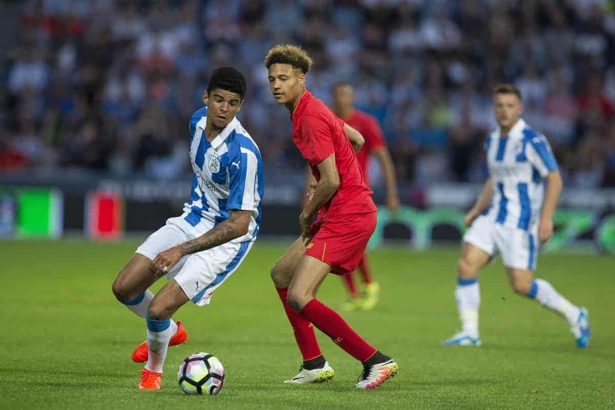 HUDDERSFIELD, ENGLAND - Wednesday, July 20, 2016: Liverpool's Shamal George in action against Huddersfield Town's Philip Billing during the Shankly Trophy pre-season friendly match at the John Smith?s Stadium. (Pic by Paul Greenwood/Propaganda)