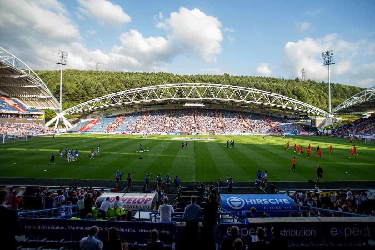 HUDDERSFIELD, ENGLAND - Wednesday, July 19, 2016: A general view of the stadium as the teams warm up ahead of Liverpool against Huddersfield Town during the Shankly Trophy pre-season friendly match at the John Smith?s Stadium. (Pic by Paul Greenwood/Propaganda)