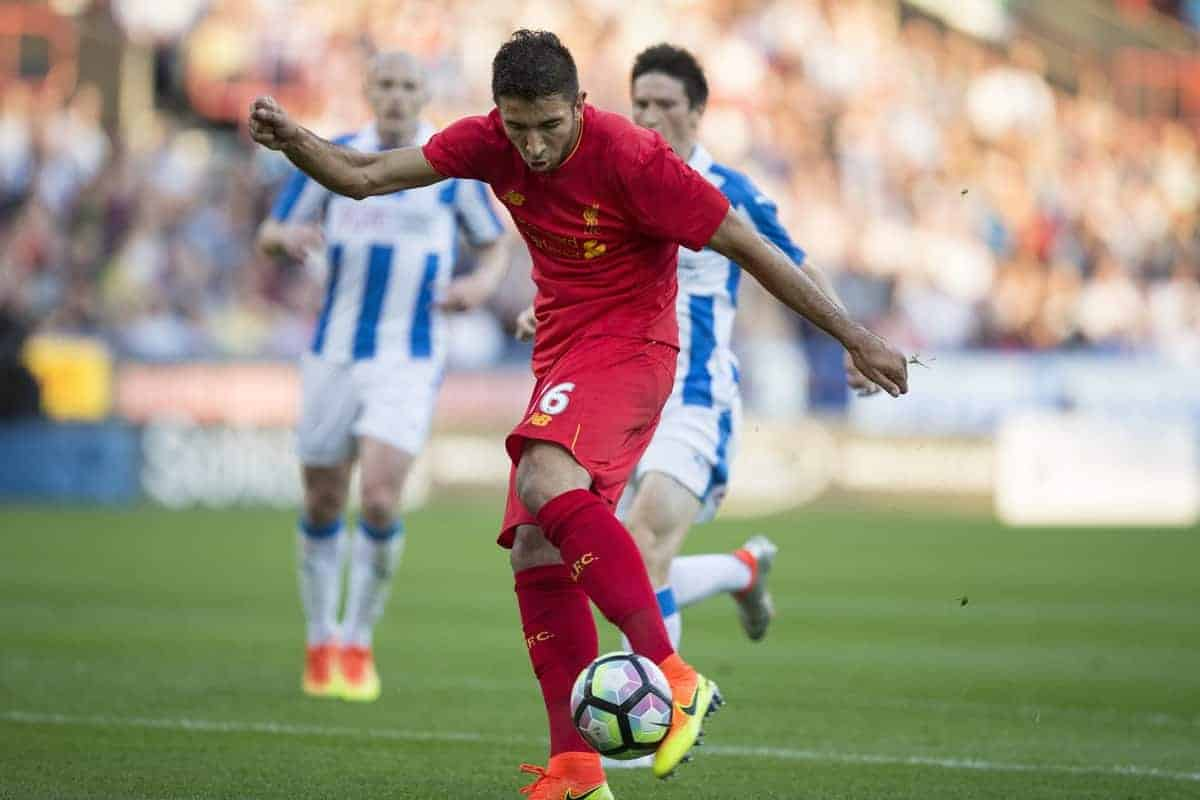 HUDDERSFIELD, ENGLAND - Wednesday, July 19, 2016: Liverpool's Marko Grujic scores his sides first goal to make the score 1-0 during the Shankly Trophy pre-season friendly match against Huddersfield Town at the John Smith?s Stadium. (Pic by Paul Greenwood/Propaganda)