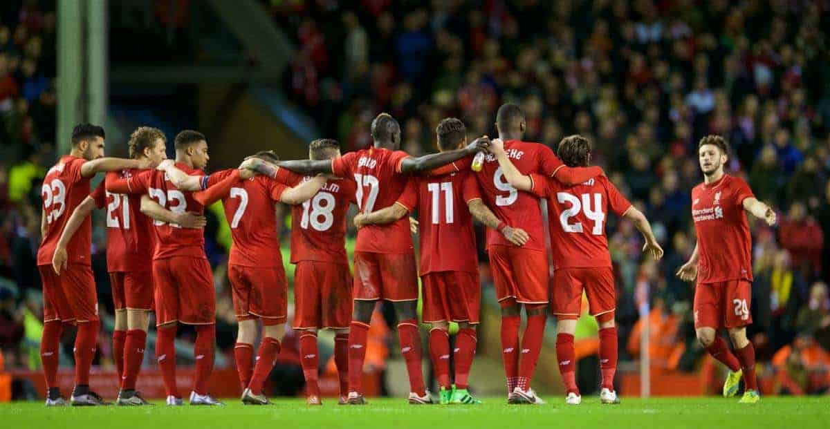 LIVERPOOL, ENGLAND - Monday, January 25, 2016: Liverpool players lined up for penalties during the Football League Cup Semi-Final 2nd Leg match against Stoke City at Anfield. (Pic by David Rawcliffe/Propaganda)