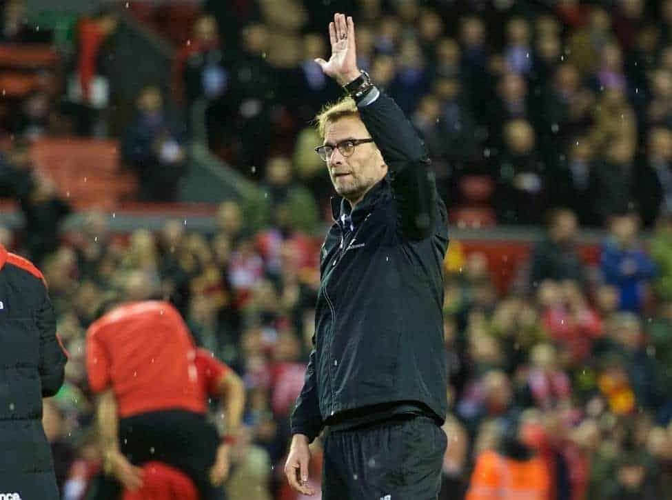 LIVERPOOL, ENGLAND - Monday, January 25, 2016: Liverpool's manager Jürgen Klopp thanking fans after 6-6 winning in penalties during the Football League Cup Semi-Final 2nd Leg match against Stoke City at Anfield. (Pic by David Rawcliffe/Propaganda)