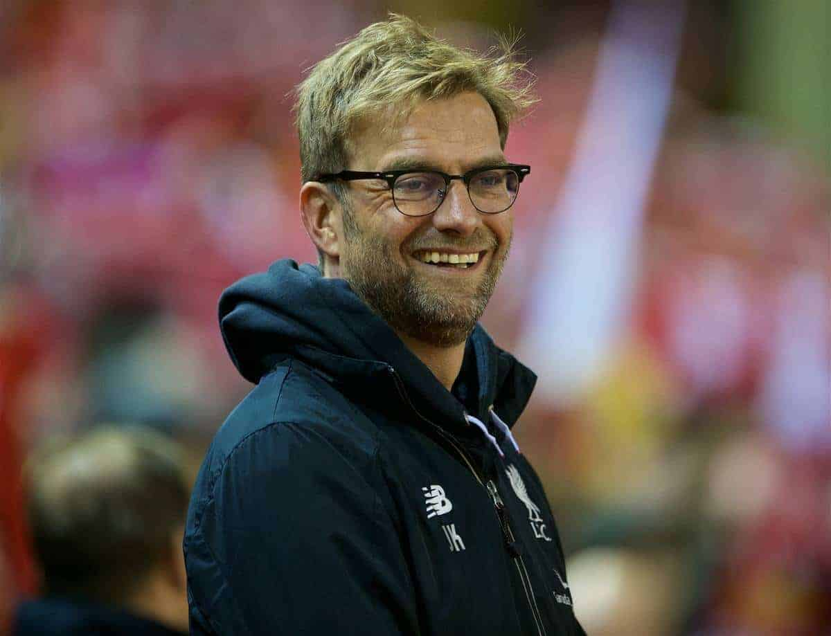LIVERPOOL, ENGLAND - Monday, January 25, 2016: Liverpool's manager Jürgen Klopp before the Football League Cup Semi-Final 2nd Leg match against Stoke City at Anfield. (Pic by David Rawcliffe/Propaganda)