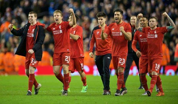 LIVERPOOL, ENGLAND - Monday, January 25, 2016: Liverpool players celebrating the victory after 6-6 winning in penalties during the Football League Cup Semi-Final 2nd Leg match against Stoke City at Anfield. (Pic by David Rawcliffe/Propaganda)