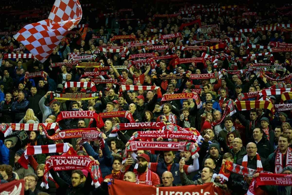 LIVERPOOL, ENGLAND - Monday, January 25, 2016: Liverpool supporters in Kop stand before kick-off of the Football League Cup Semi-Final 2nd Leg match against Stoke City at Anfield. (Pic by David Rawcliffe/Propaganda)