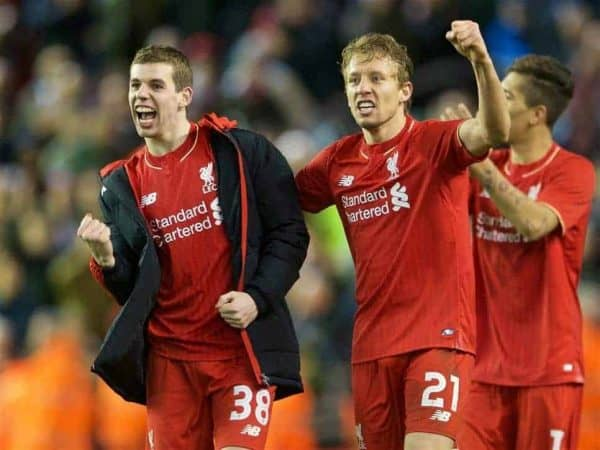 LIVERPOOL, ENGLAND - Monday, January 25, 2016: Liverpool's Lucas Leiva,and Jon Flanagan celebrating the victory after 6-6 winning in penalties during the Football League Cup Semi-Final 2nd Leg match against Stoke City at Anfield. (Pic by David Rawcliffe/Propaganda)