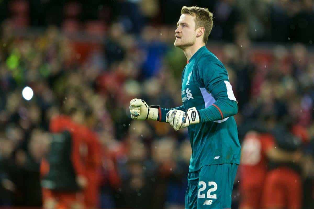LIVERPOOL, ENGLAND - Monday, January 25, 2016: Liverpool's goalkeeper Simon Mignolet celebrating the victory after 6-6 winning in penalties during the Football League Cup Semi-Final 2nd Leg match against Stoke City at Anfield. (Pic by David Rawcliffe/Propaganda)