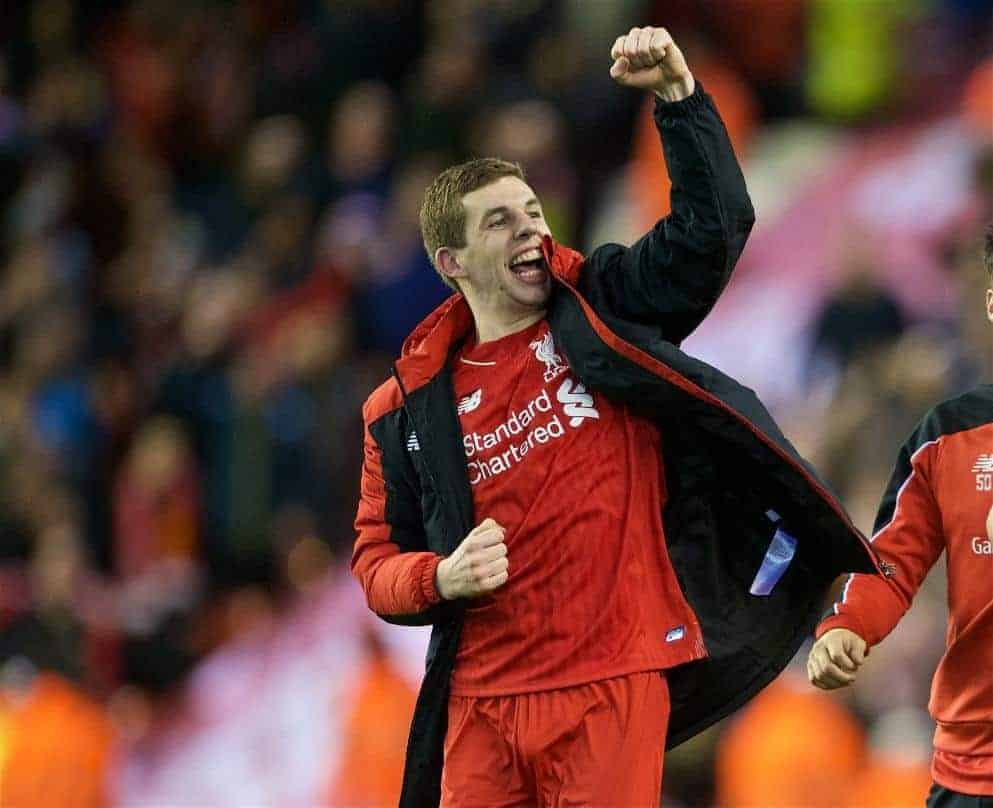 LIVERPOOL, ENGLAND - Monday, January 25, 2016: Liverpool's Jon Flanagan celebrating the victory after 6-6 winning in penalties during the Football League Cup Semi-Final 2nd Leg match against Stoke City at Anfield. (Pic by David Rawcliffe/Propaganda)