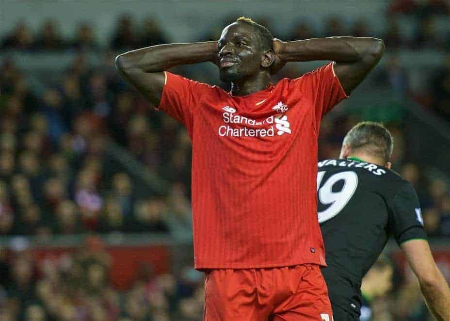 LIVERPOOL, ENGLAND - Monday, January 25, 2016: Liverpool's Mamadou Sakho looks frustrated after missing a chance during the Football League Cup Semi-Final 2nd Leg match against Stoke City at Anfield. (Pic by David Rawcliffe/Propaganda)