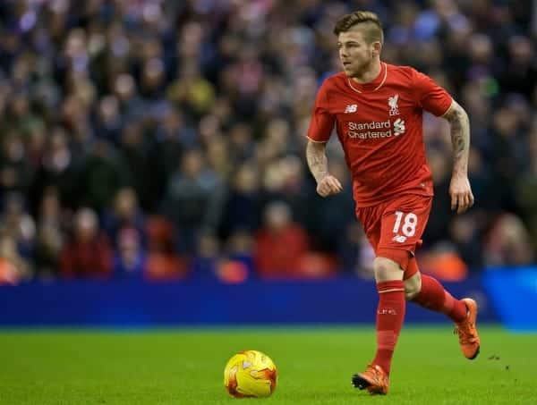 LIVERPOOL, ENGLAND - Monday, January 25, 2016: Liverpool's Alberto Moreno in action during the Football League Cup Semi-Final 2nd Leg match against Stoke City at Anfield. (Pic by David Rawcliffe/Propaganda)