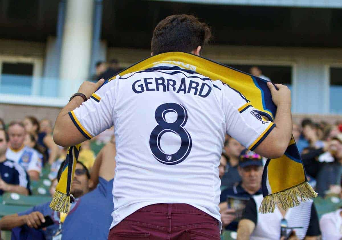 LOS ANGELES, USA - Saturday, July 4, 2015: A LA Galaxy supporter wearing a Steven Gerrard shirt during the MLS game against Toronto FC at the StubHub Center. (Pic by Robert Sorey/Propaganda)