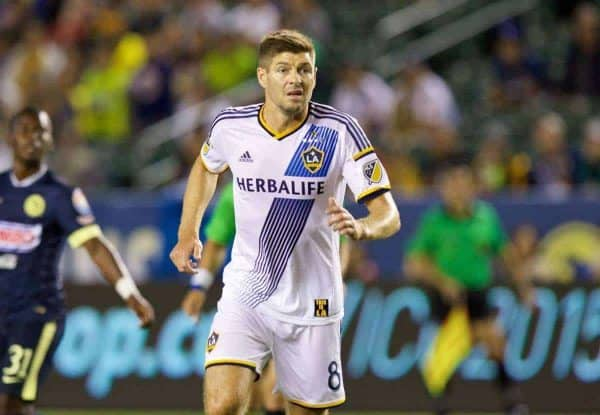 LOS ANGELES, USA - Saturday, July 11, 2015: LA Galaxy's Steven Gerrard in action during the International Champions Cup match against Club America at the StubHub Center. (Pic by Susana Capra/Propaganda)