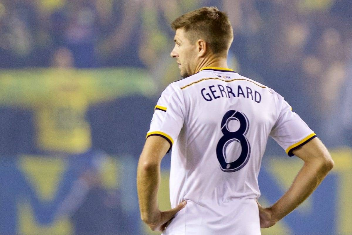 LOS ANGELES, USA - Saturday, July 11, 2015: LA Galaxy's Steven Gerrard in action against Club America during the International Champions Cup match at the StubHub Center. (Pic by Susana Capra/Propaganda)