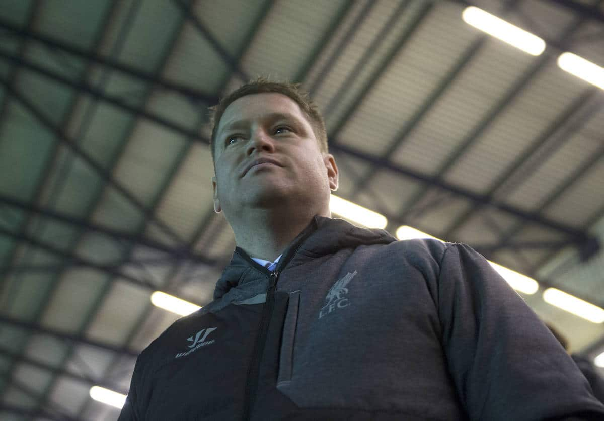 WIDNES, ENGLAND - Wednesday, March 25, 2015: Liverpool Ladies' coach Matt Beard watches from the dugout against Sunderland AFC Ladies during the FA Women's Super League match at the Halton Stadium. (Pic by Gareth Jones/Propaganda)