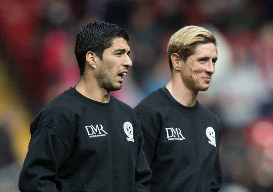 LIVERPOOL, ENGLAND - Sunday, March 29, 2015: Luis Suarez and Fernando Torres warm up prior to the Liverpool All Star Charity match at Anfield. (Pic by Richard Martin-Roberts/Propaganda)