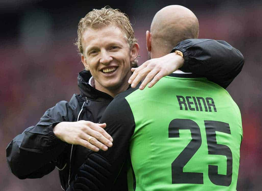 LIVERPOOL, ENGLAND - Sunday, March 29, 2015: Dirk Kuyt embraces Pepe Reina during the Liverpool All Star Charity match at Anfield. (Pic by Richard Martin-Roberts/Propaganda)