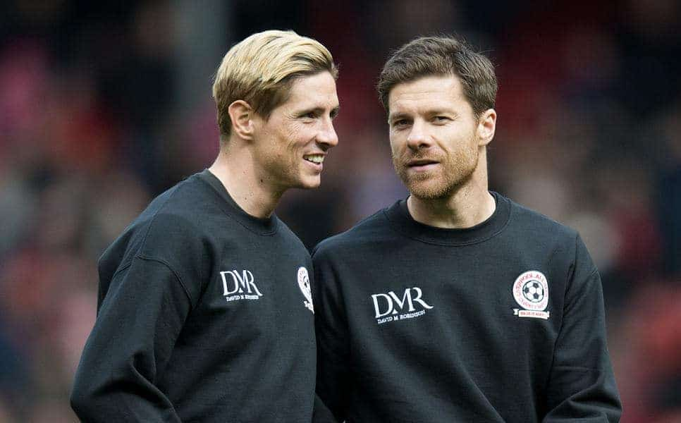 LIVERPOOL, ENGLAND - Sunday, March 29, 2015: Fernando Torres and Xabi Alonso (R) chat prior to the Liverpool All Star Charity match at Anfield. (Pic by Richard Martin-Roberts/Propaganda)
