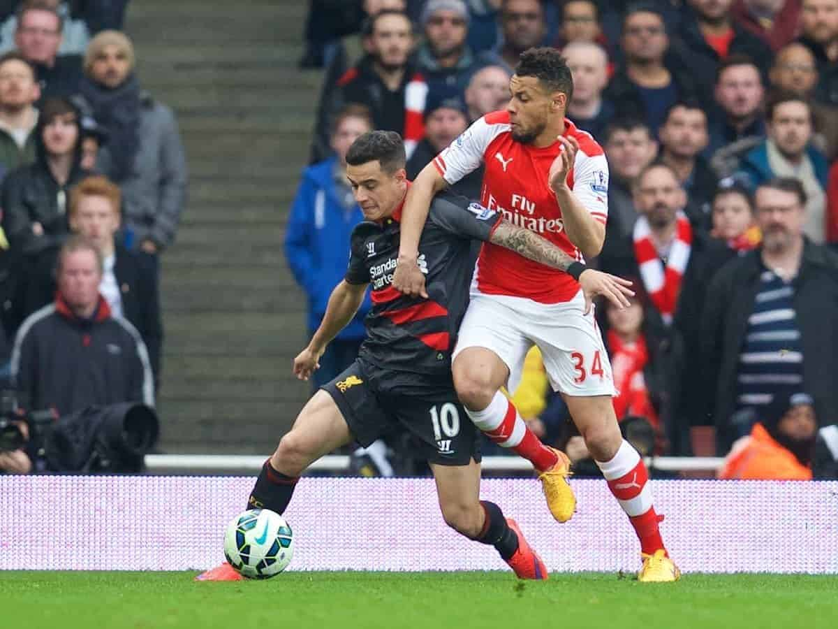 LONDON, ENGLAND - Saturday, April 4, 2015: Liverpool's Philippe Coutinho Correia in action against Arsenal's Francis Coquelin during the Premier League match at the Emirates Stadium. (Pic by Chris Brunskill/Propaganda)