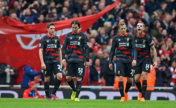 LONDON, ENGLAND - Saturday, April 4, 2015: Liverpool's Joe Allen, Lazar Markovic, Lucas Leiva and captain Jordan Henderson look dejected as Arsenal score the third goal before half-time during the Premier League match at the Emirates Stadium. (Pic by David Rawcliffe/Propaganda)