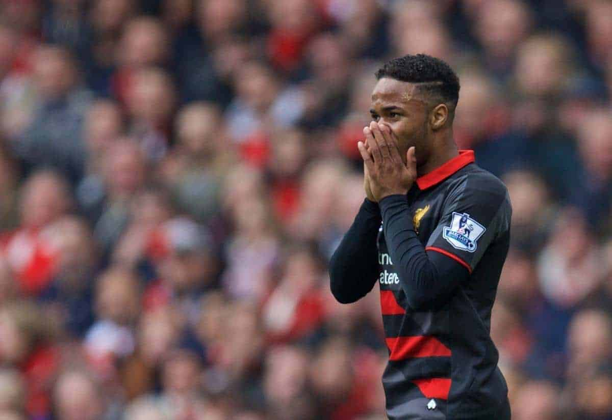 Liverpool's Raheem Sterling looks dejected after missing a chance against Arsenal during the Premier League match at the Emirates Stadium. (Pic by David Rawcliffe/Propaganda)