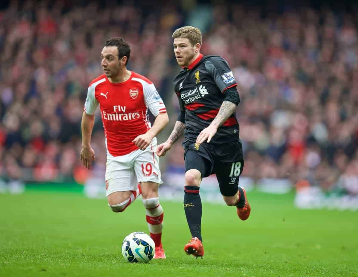 LONDON, ENGLAND - Saturday, April 4, 2015: Liverpool's Alberto Moreno in action against Arsenal during the Premier League match at the Emirates Stadium. (Pic by David Rawcliffe/Propaganda)