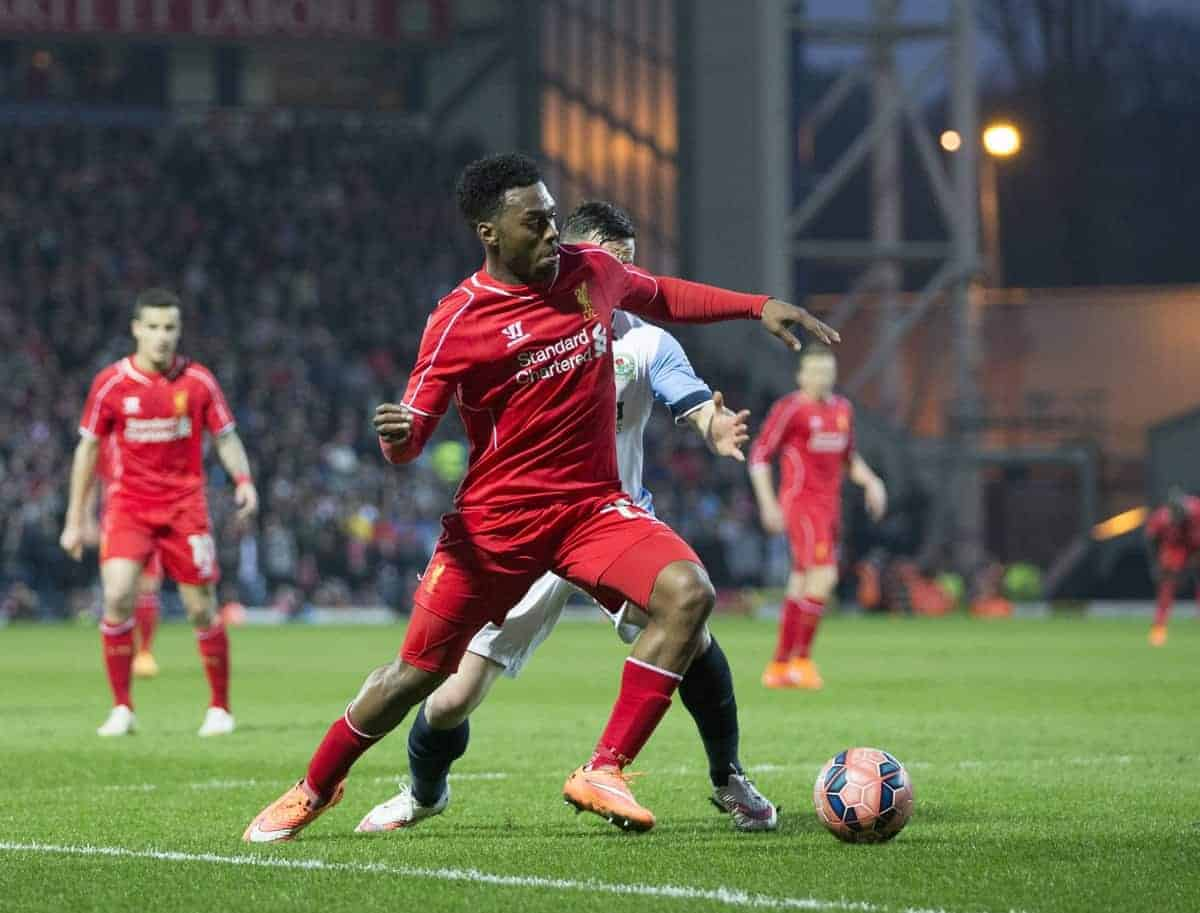 BLACKBURN, ENGLAND - Wednesday, April 8, 2015: Liverpool's Daniel Sturridge in action against Blackburn Rovers during the FA Cup 6th Round Quarter-Final Replay match at Ewood Park. (Pic by Gareth Jones/Propaganda)