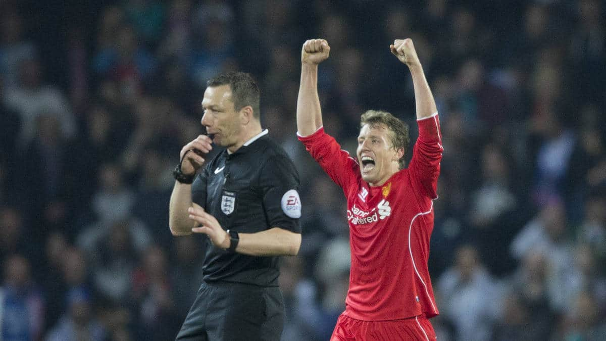 BLACKBURN, ENGLAND - Wednesday, April 8, 2015: Liverpool's Lucas Leiva celebrates the win against Blackburn Rovers in the FA Cup 6th Round Quarter-Final Replay match at Ewood Park. (Pic by Gareth Jones/Propaganda)