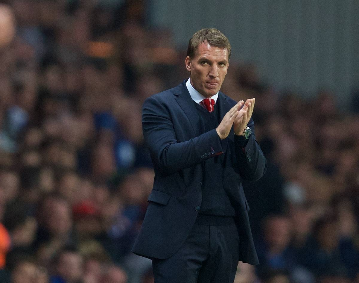 BLACKBURN, ENGLAND - Wednesday, April 8, 2015: Liverpool's manager Brendan Rodgers against Blackburn Rovers during the FA Cup 6th Round Quarter-Final Replay match at Ewood Park. (Pic by David Rawcliffe/Propaganda)
