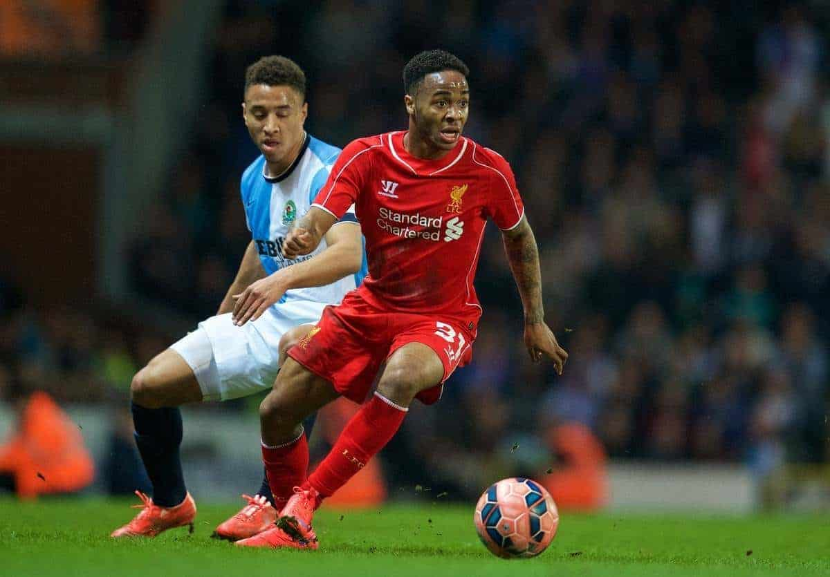 BLACKBURN, ENGLAND - Wednesday, April 8, 2015: Liverpool's Raheem Sterling in action against Blackburn Rovers during the FA Cup 6th Round Quarter-Final Replay match at Ewood Park. (Pic by David Rawcliffe/Propaganda)
