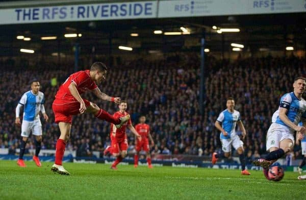 BLACKBURN, ENGLAND - Wednesday, April 8, 2015: Liverpool's Philippe Coutinho Correia scores the first goal against Blackburn Rovers during the FA Cup 6th Round Quarter-Final Replay match at Ewood Park. (Pic by David Rawcliffe/Propaganda)