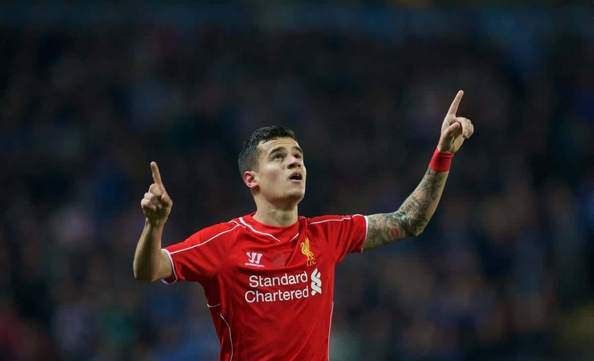 BLACKBURN, ENGLAND - Wednesday, April 8, 2015: Liverpool's Philippe Coutinho Correia celebrates scoring the first goal against Blackburn Rovers during the FA Cup 6th Round Quarter-Final Replay match at Ewood Park. (Pic by David Rawcliffe/Propaganda)