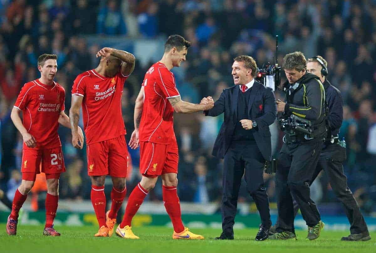 BLACKBURN, ENGLAND - Wednesday, April 8, 2015: Liverpool's manager Brendan Rodgers congratulates Dejan Lovren after their 1-0 victory over Blackburn Rovers during the FA Cup 6th Round Quarter-Final Replay match at Ewood Park. (Pic by David Rawcliffe/Propaganda)