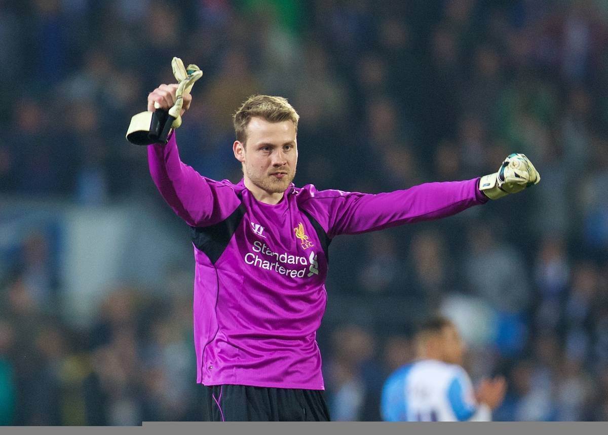 BLACKBURN, ENGLAND - Wednesday, April 8, 2015: Liverpool's goalkeeper Simon Mignolet celebrates his side's 1-0 victory over Blackburn Rovers during the FA Cup 6th Round Quarter-Final Replay match at Ewood Park. (Pic by David Rawcliffe/Propaganda)