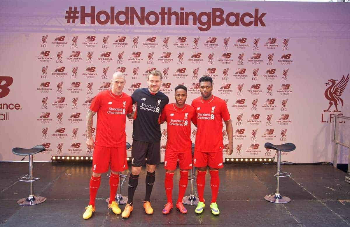 LIVERPOOL, ENGLAND - Friday, April 10, 2015: Liverpool's Martin Skrtel, goalkeeper Simon Mignolet, Raheem Sterling and Daniel Sturridge during the launch for the New Balance 2015/16 home kit at Anfield. (Pic by Paul Currie/Propaganda)
