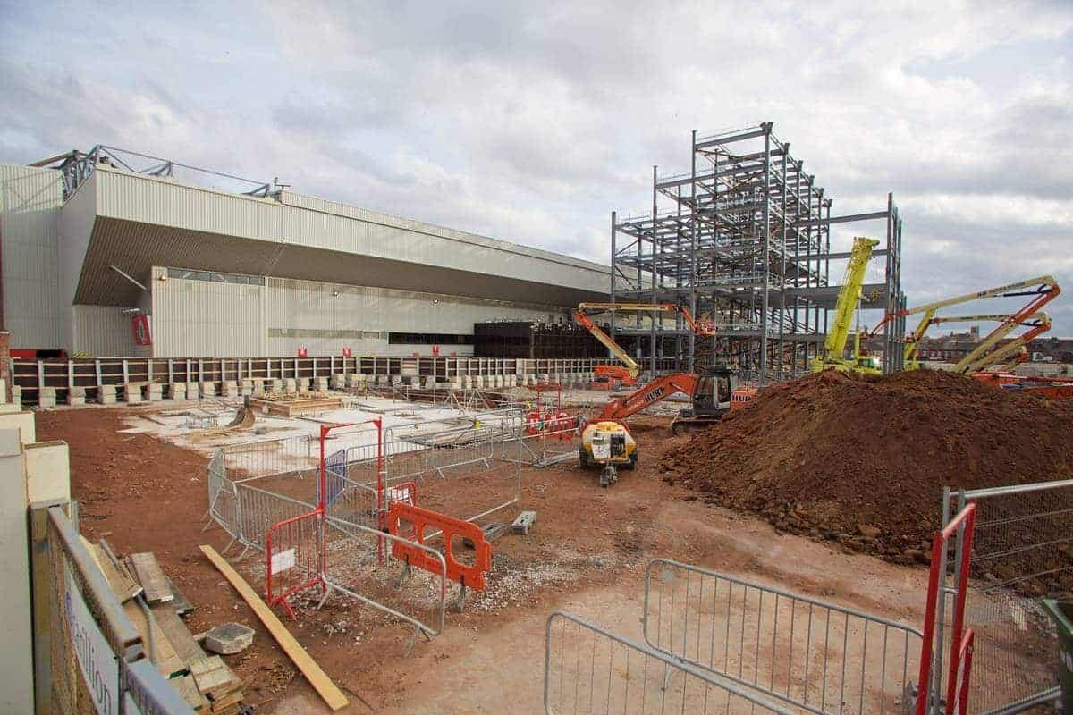 LIVERPOOL, ENGLAND - Monday, April 13, 2015: Construction work on the new Main Stand at Liverpool Anfield Stadium. (Pic by David Rawcliffe/Propaganda)