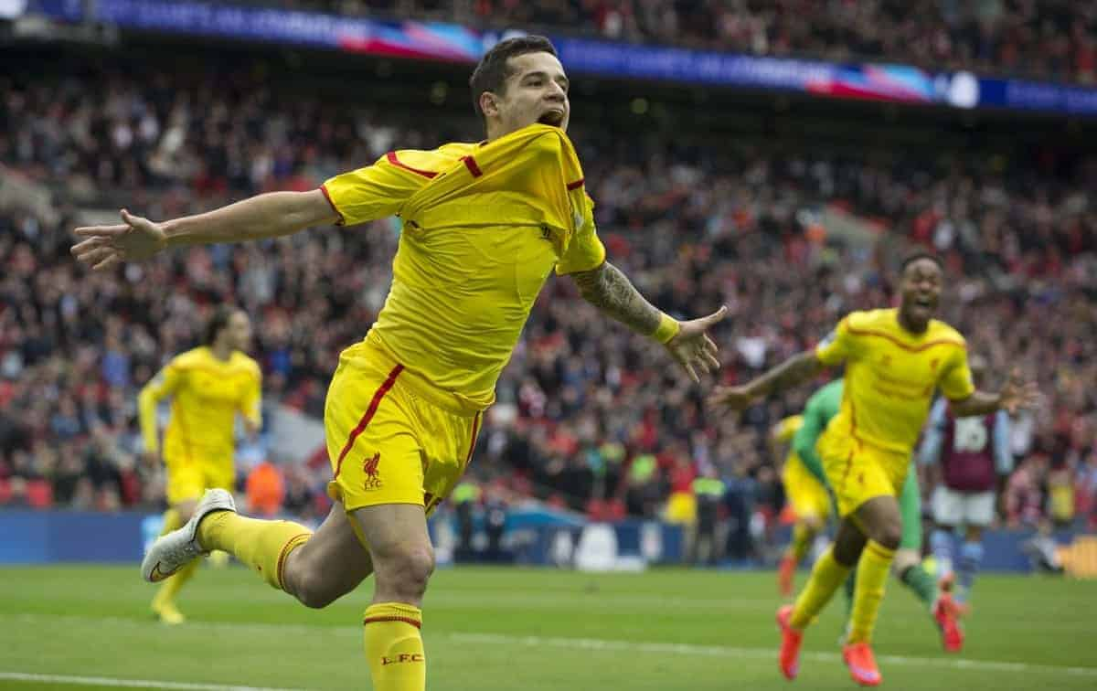 LONDON, ENGLAND - Sunday, April 19, 2015: Liverpool's Philippe Coutinho Correia celebrates his goal against Aston Villa during the FA Cup Semi-Final match at Wembley Stadium. (Pic by Gareth Jones/Propaganda)