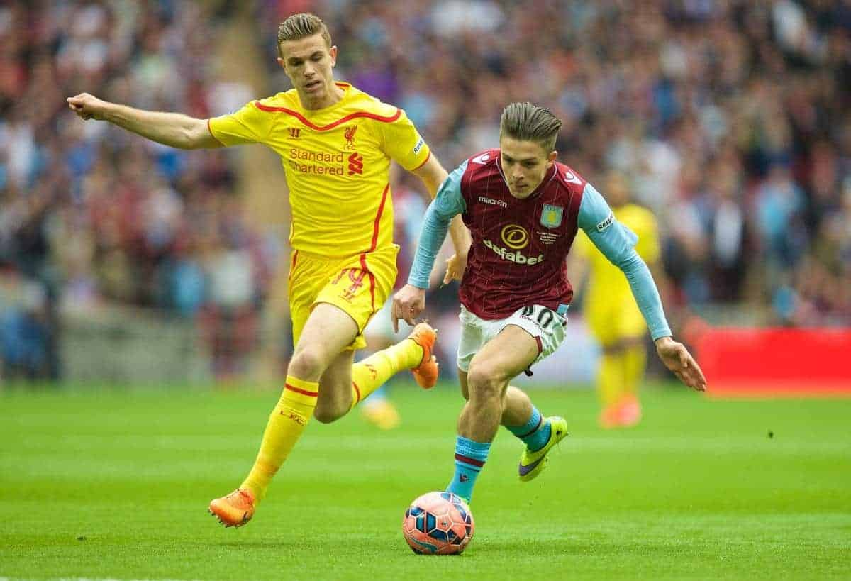 LONDON, ENGLAND - Sunday, April 19, 2015: Liverpool's captain Jordan Henderson in action against Aston Villa's Jack Grealish during the FA Cup Semi-Final match at Wembley Stadium. (Pic by David Rawcliffe/Propaganda)