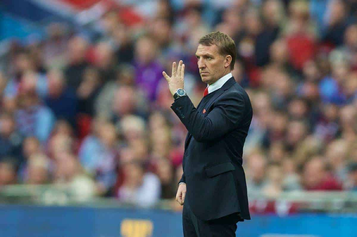 Liverpool's manager Brendan Rodgers during the FA Cup Semi-Final match against Aston Villa at Wembley Stadium. (Pic by David Rawcliffe/Propaganda)