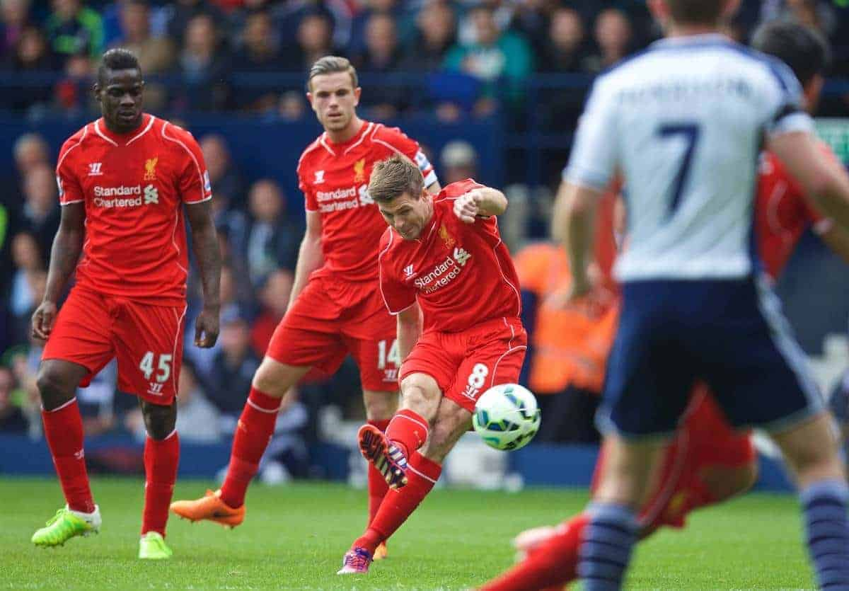 WEST BROMWICH, ENGLAND - Saturday, April 25, 2015: Liverpool's captain Steven Gerrard takes a free-kick against West Bromwich Albion during the Premier League match at the Hawthorns. (Pic by David Rawcliffe/Propaganda)