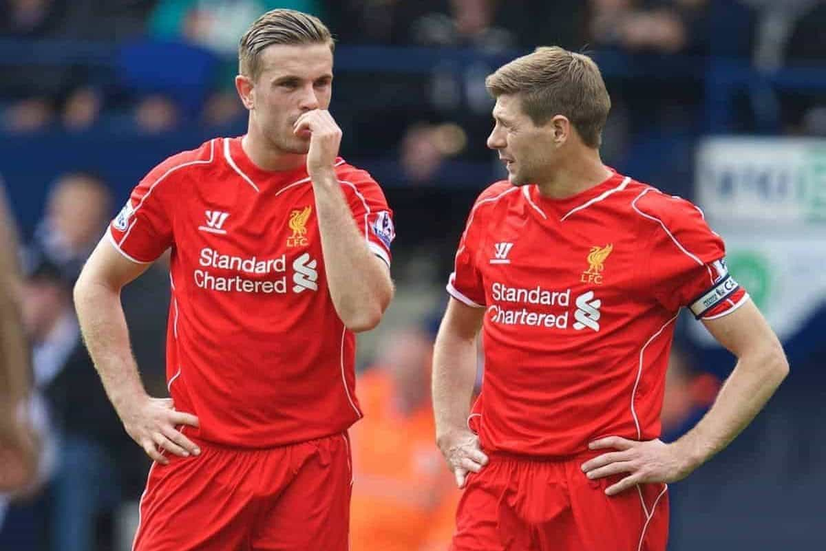 WEST BROMWICH, ENGLAND - Saturday, April 25, 2015: Liverpool's vice-captain Jordan Henderson and captain Steven Gerrard in action against West Bromwich Albion during the Premier League match at the Hawthorns. (Pic by David Rawcliffe/Propaganda)