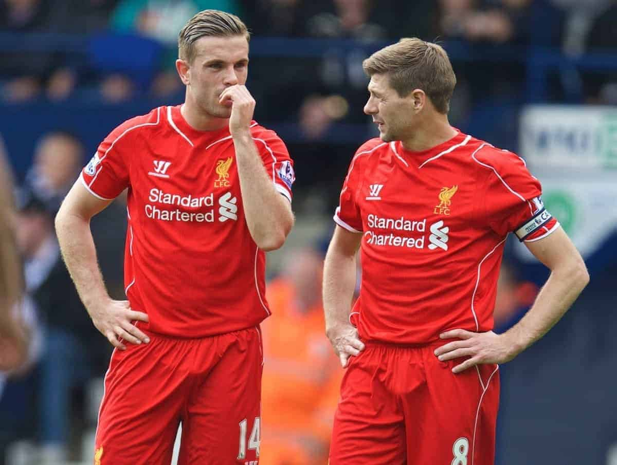 Liverpool's vice-captain Jordan Henderson and captain Steven Gerrard in action against West Bromwich Albion during the Premier League match at the Hawthorns. (Pic by David Rawcliffe/Propaganda)