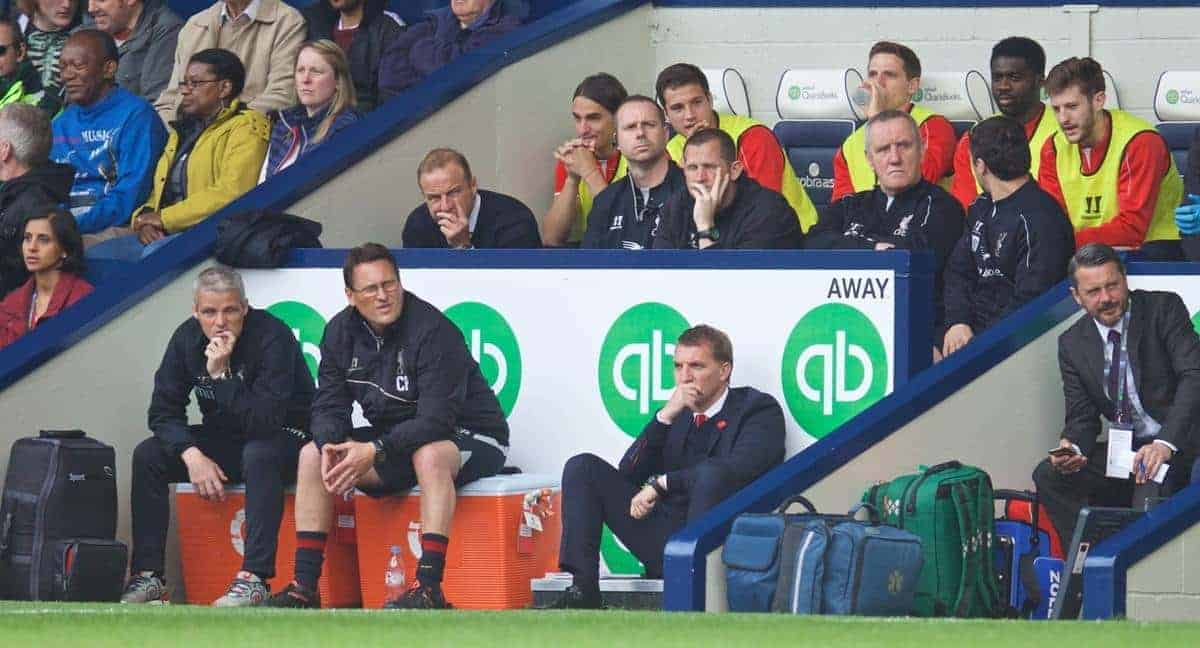 WEST BROMWICH, ENGLAND - Saturday, April 25, 2015: Liverpool's manager Brendan Rodgers during the Premier League match against West Bromwich Albion at the Hawthorns. (Pic by David Rawcliffe/Propaganda)