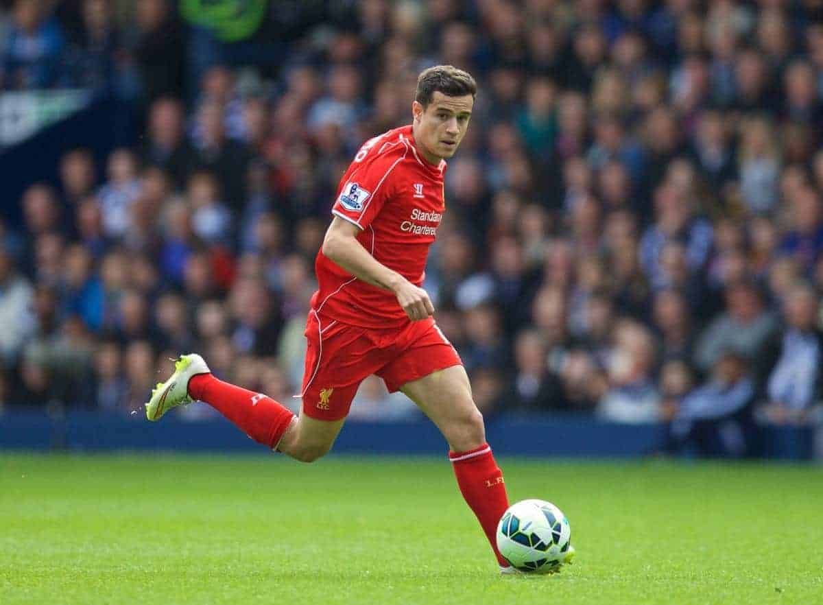 WEST BROMWICH, ENGLAND - Saturday, April 25, 2015: Liverpool's Philippe Coutinho Correia in action against West Bromwich Albion FC during the Premier League match at the Hawthorns. (Pic by David Rawcliffe/Propaganda)